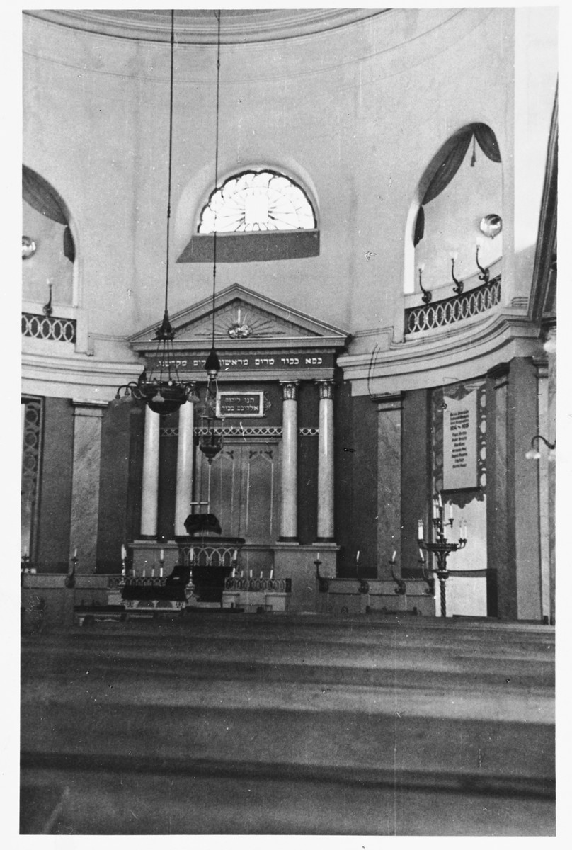 Interior view of the synagogue in Buchau Germany.