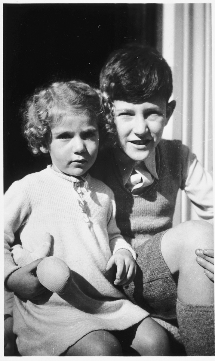 Portrait of two Jewish children in Amsterdam.  Pictured are Marianne Hendrix and her older brother Robert.