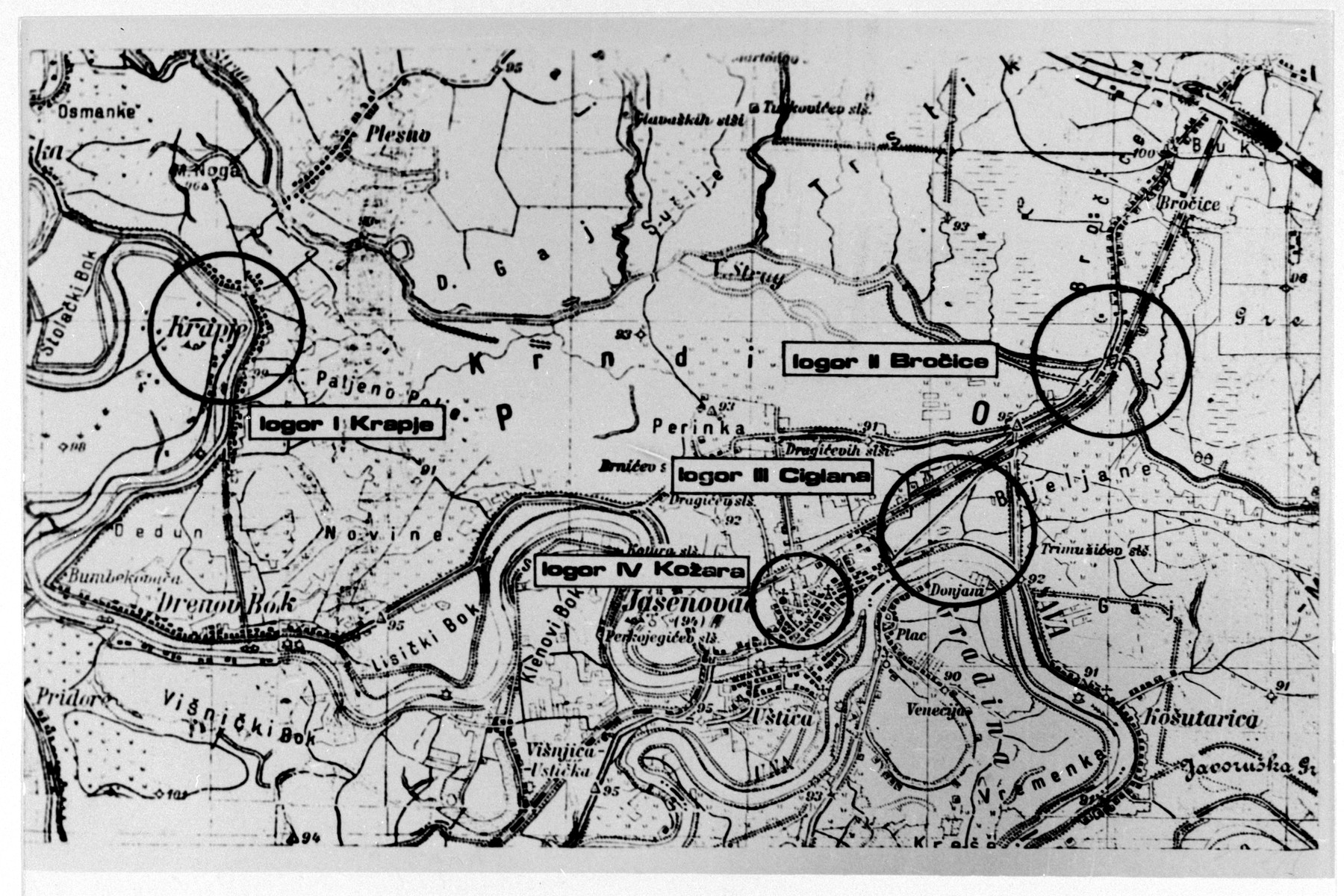 A map showing the location of four of the concentration camps that made up the Jasenovac camp system.