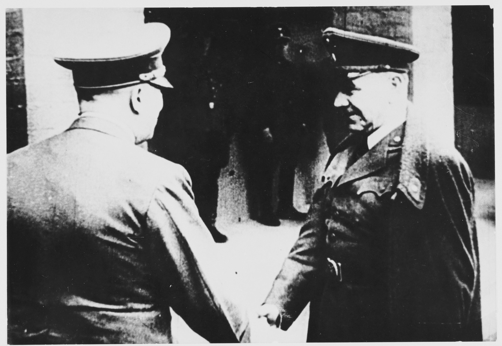 Adolf Hitler shakes hands with Croatian leader Ante Pavelic during an official visit to Croatia.