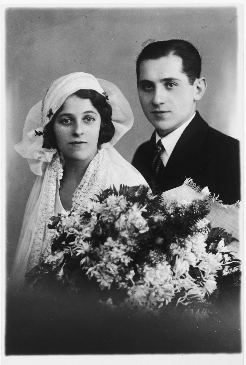 Wedding photo of Marcelli and Julia Weiss.  They were later killed in Belzec.