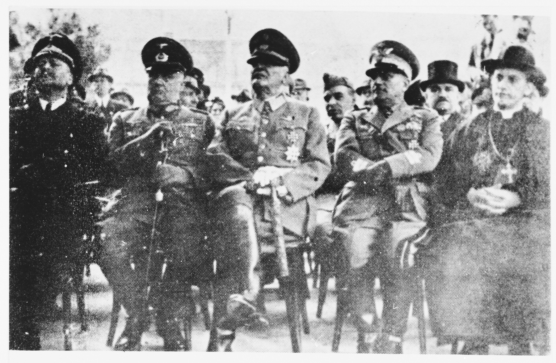 Croatian military and clerical leaders attend a ceremony.  From left to right are General von Troll (Councellor of German Legation),General Gleise Horstenau, General Slavko Kvaternik (NDH),General Mario Roata (Italy) and Archbishop Stepinac
