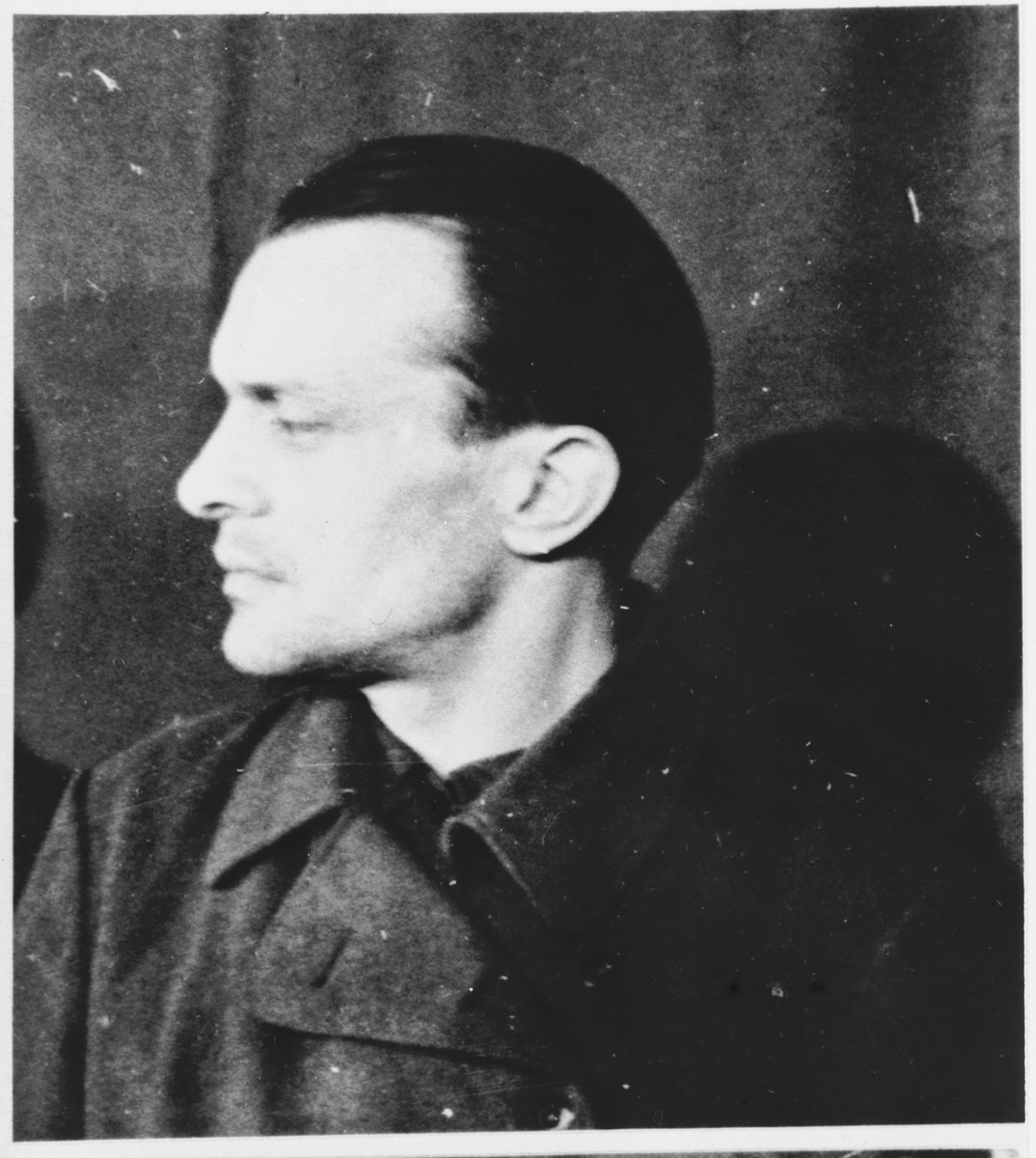Defendant Wilhelm Schubert at the Sachsenhausen concentration camp war crimes trial in Berlin.