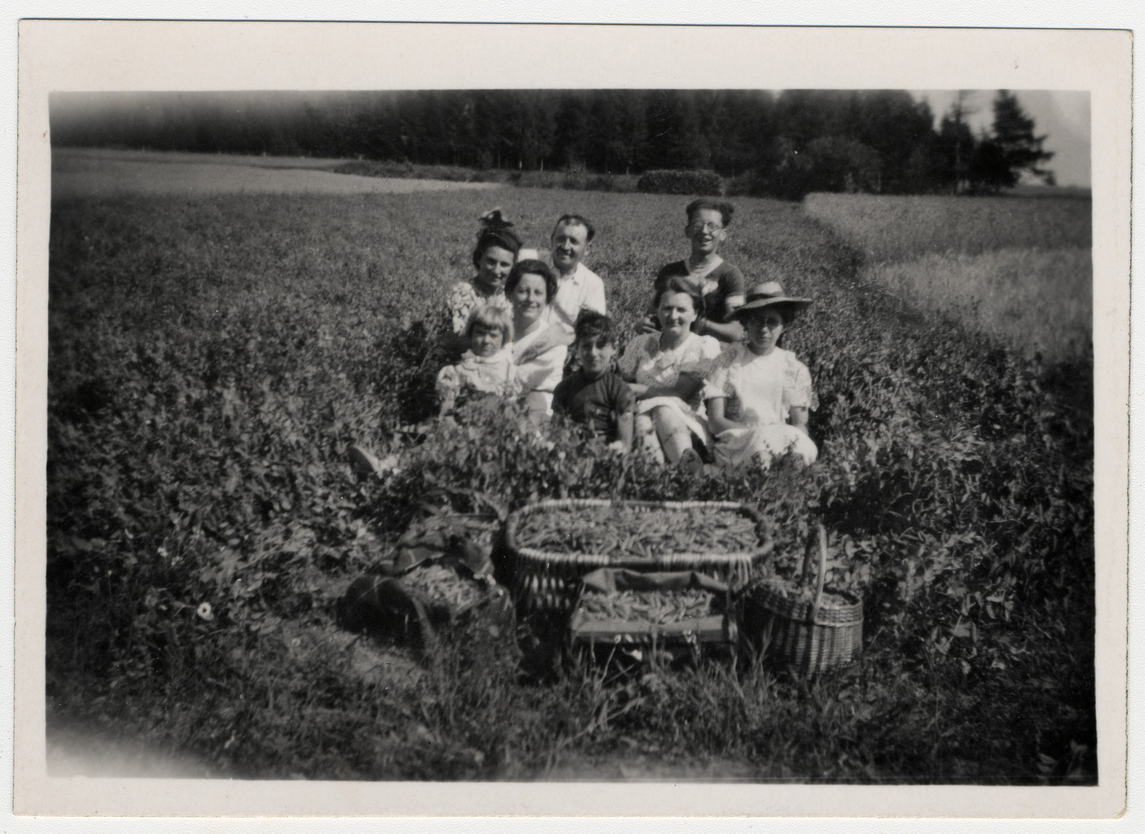 "Irma R. Simon, left at rear, and son Steven Simon in front, third from right, picking peas with their landlord's family during the summer of 1942 while assigned to ""forced residence"" in Allegre in the Auvergne by the Vichy government.  Also pictured is their landlord Victor Pernin."