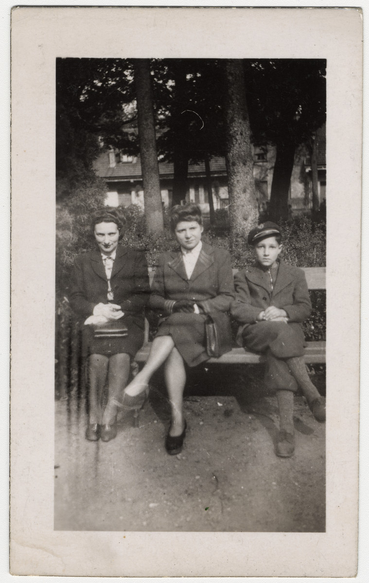 """Irma Simon at left with son Steven on the right wearing his Catholic boarding school cap while in hiding. The woman in the middle is her friend """"Germaine"""" who hid Steven and his mother for a month in Lyon, 1943."""