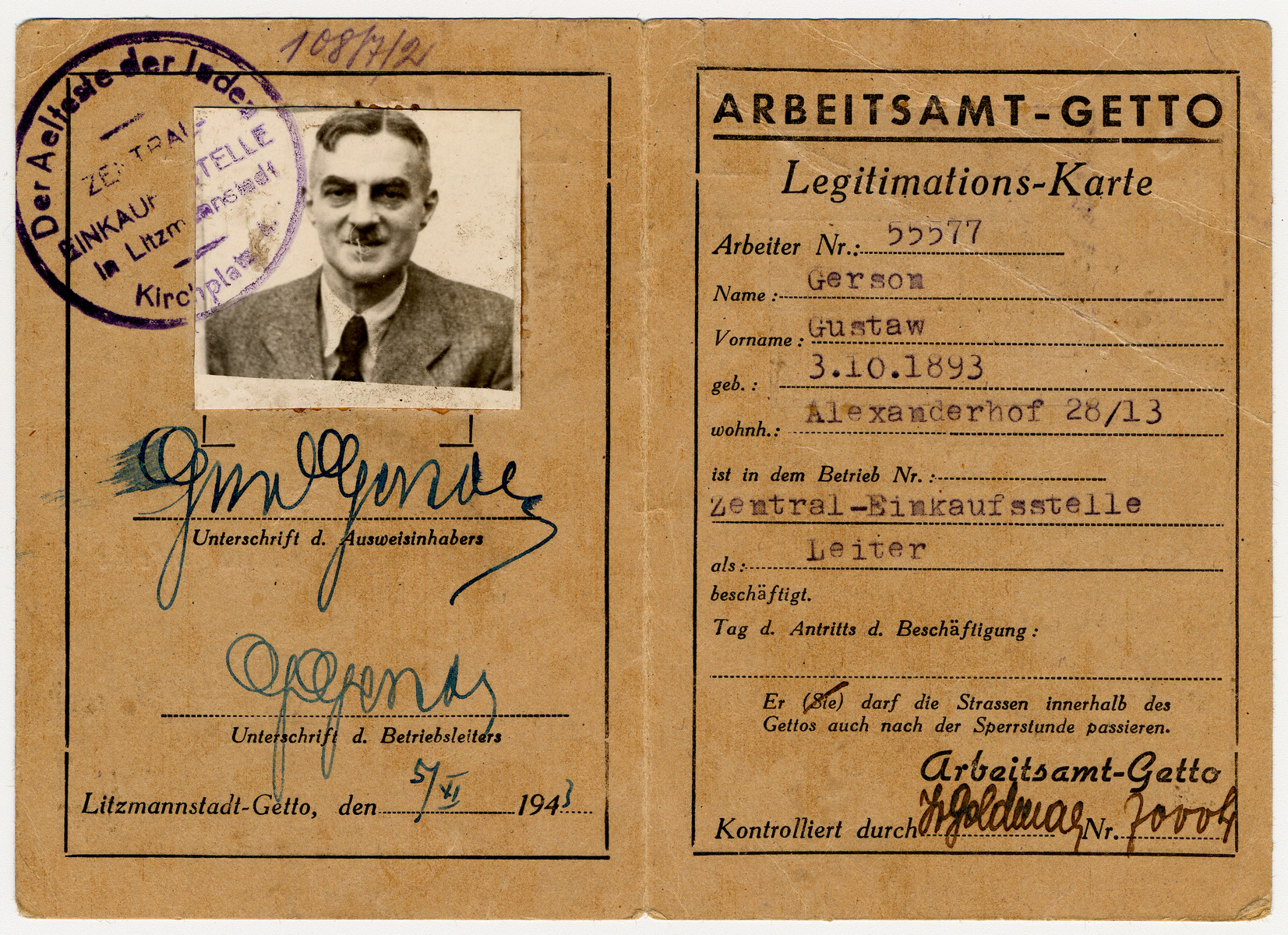 Work card issued to Gustaw Gerson, the director of the Zentral Einkaufstelle of the Lodz ghetto.