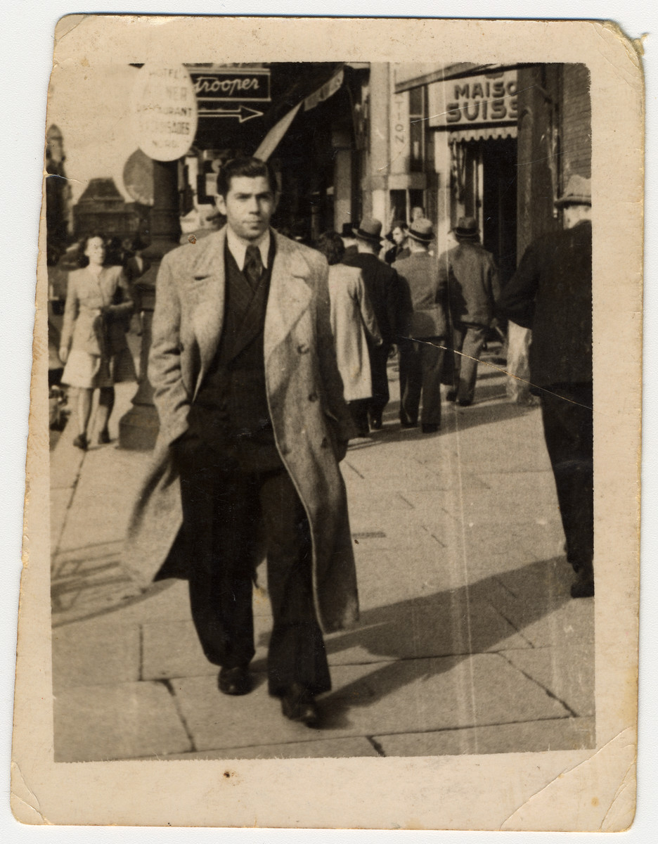 Street portrait of a Jewish man taken less than a year before he was deported to Auschwitz.  Pictured is Heinrich (Henry) Chutz.