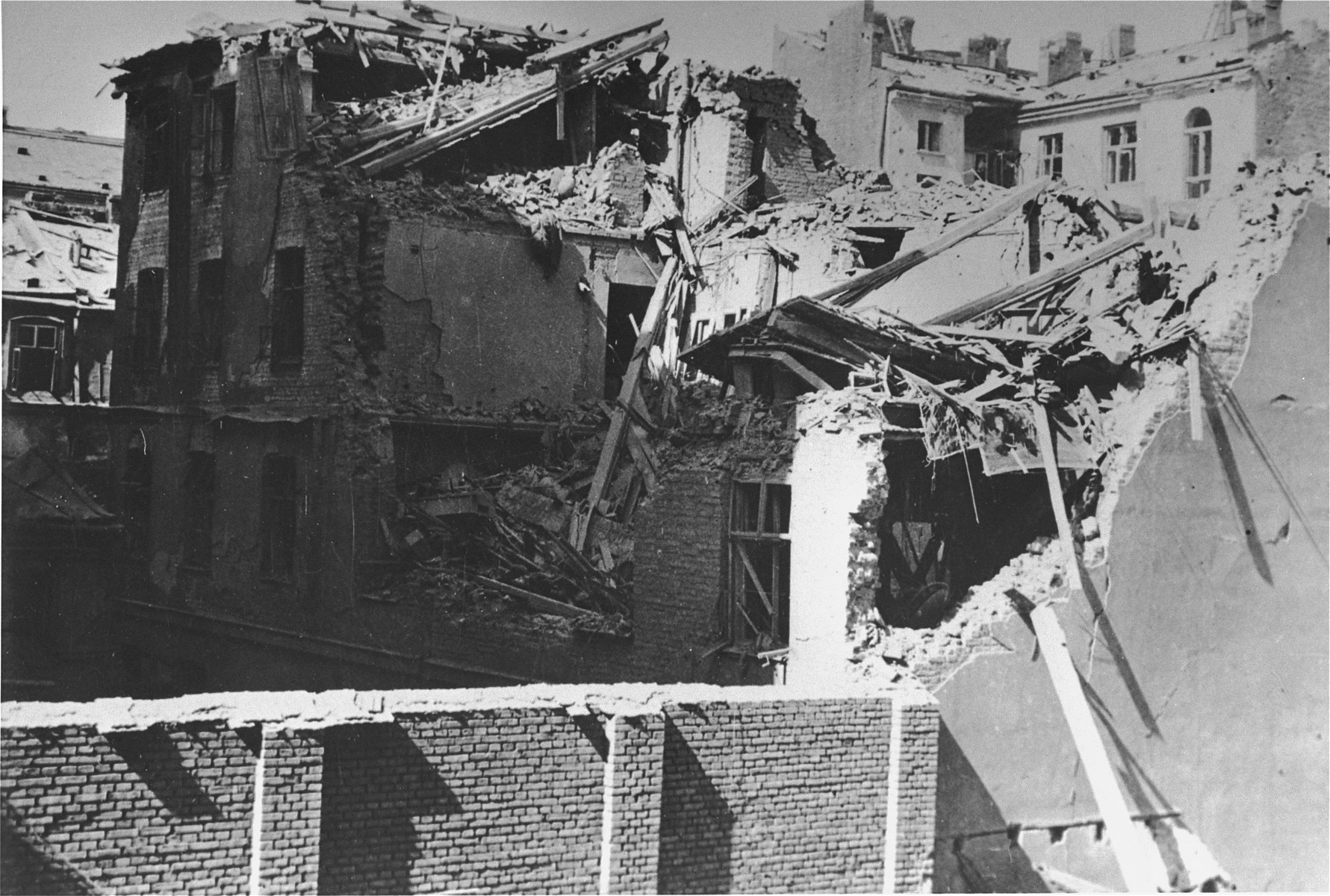 The ruins of an apartment building destroyed by the SS during the suppression of the Warsaw ghetto uprising.
