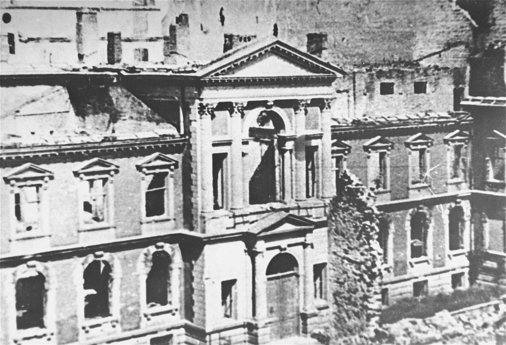 The ruins of a building destroyed by the SS during the suppression of the Warsaw ghetto uprising.