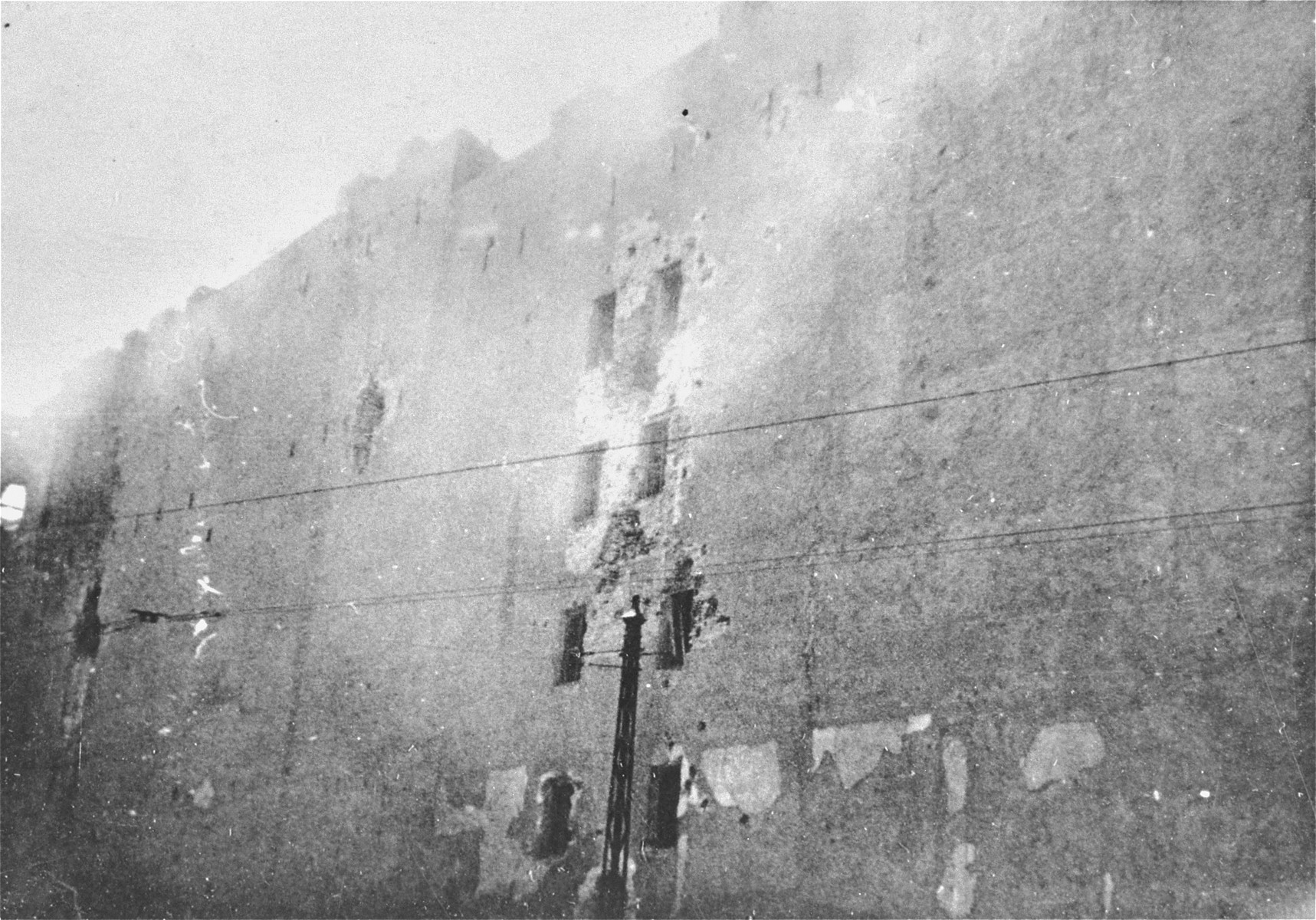 An apartment building destroyed by the SS during the suppression of the Warsaw ghetto uprising.