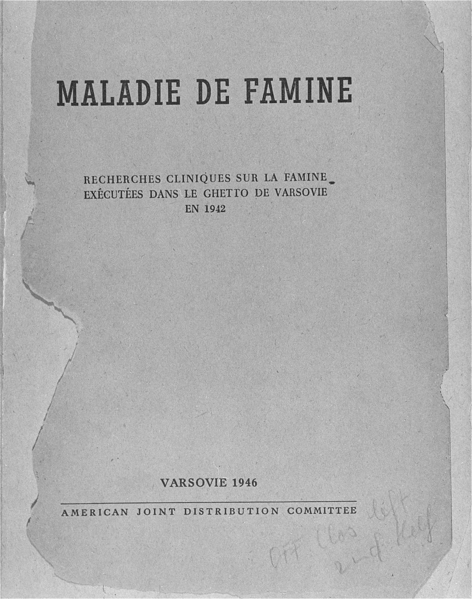 Cover page of the published medical report on starvation in the Warsaw ghetto.