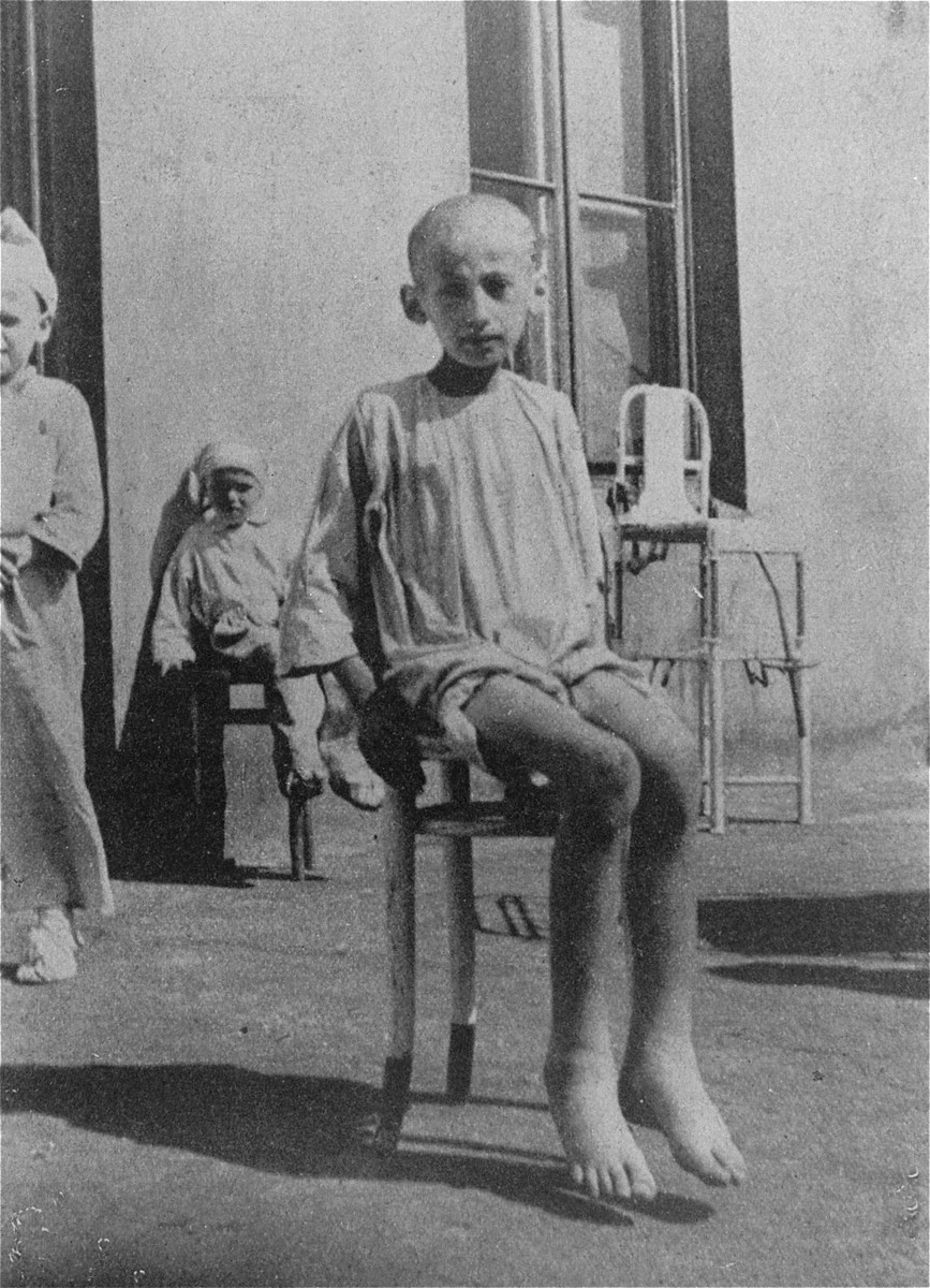 Portrait of a starving child in a hospital in the Warsaw ghetto.