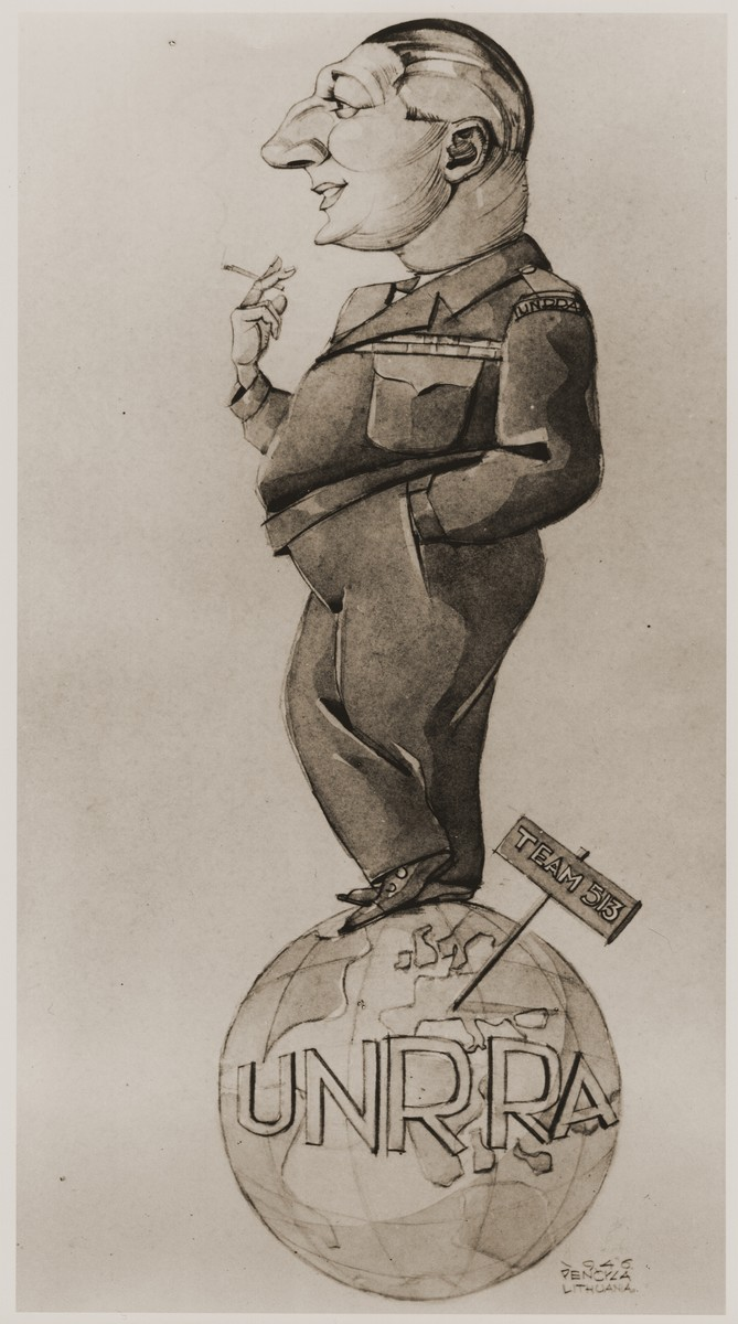 Caricature of  Michel Schadur, supply officer for UNNRA Team 513 in the district of Wuerttemberg, drawn by a non-Jewish Lithuanian DP artist, Pencyca.