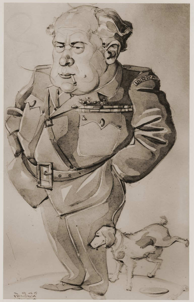 Caricature of  an UNNRA official by a non-Jewish Lithuanian DP artist, Pencyca.