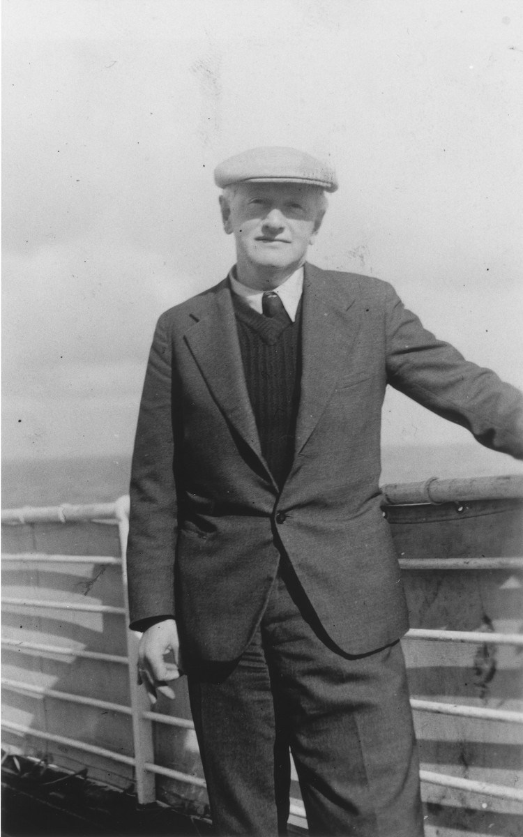 Portrait of Rudolf Goldreich on the deck of the MS St. Louis.