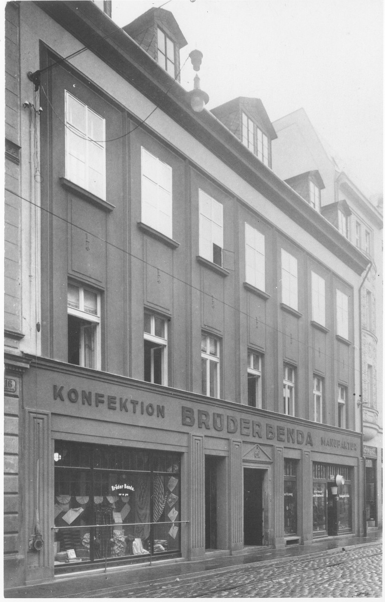 View of the Benda brothers' retail clothing store in Liberec, Bohemia.