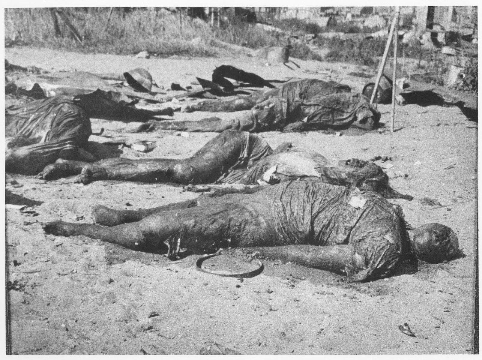 The charred remains of Jews who were killed during the liquidation of the Kovno ghetto.