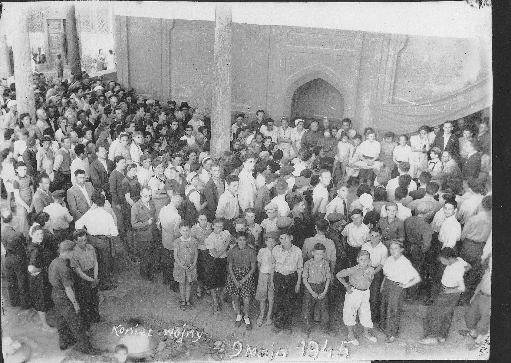 Jewish refugees who had fled to Bukhara during the war, gather for a general meeting on the day after VE Day.