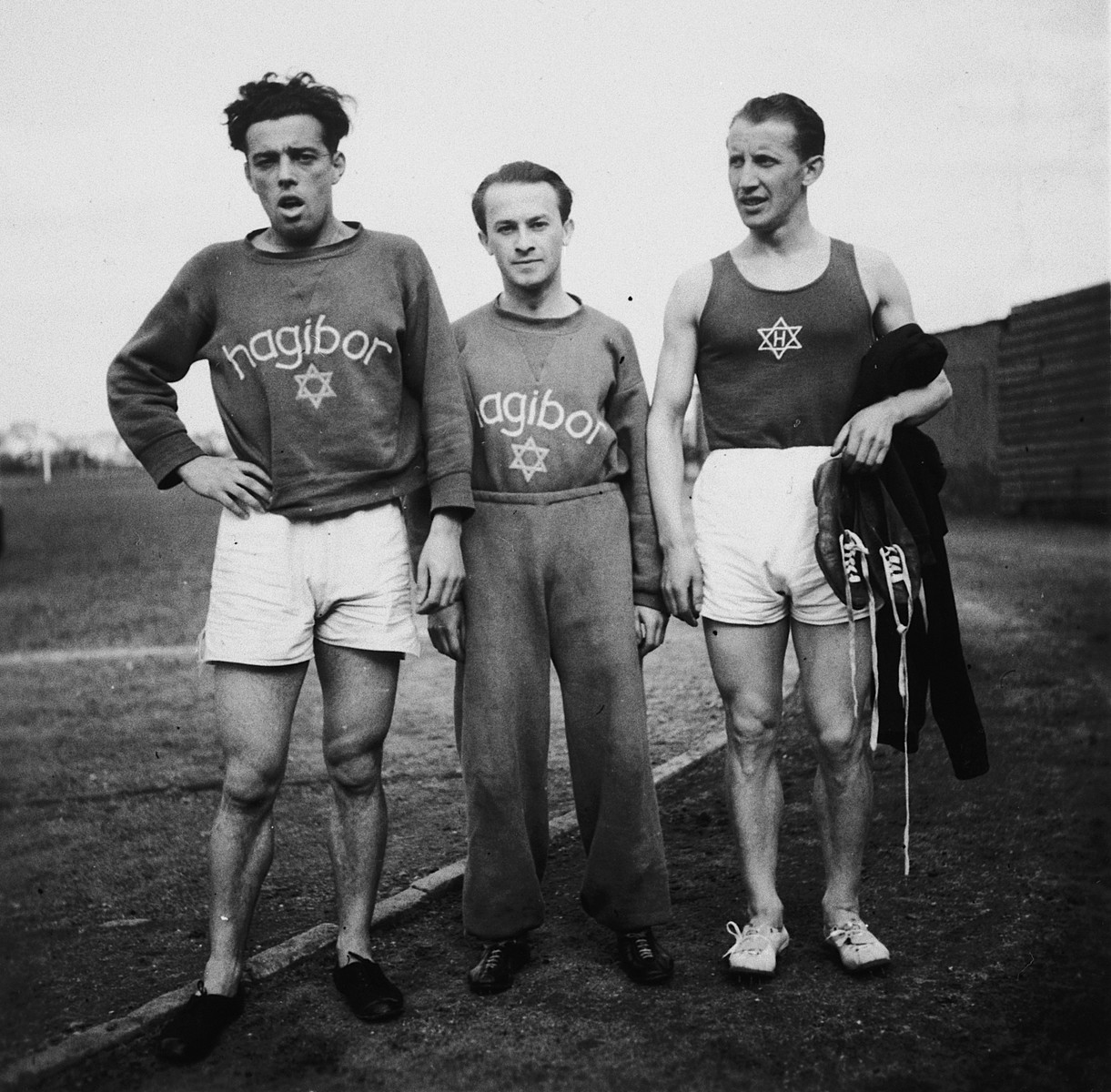 Three members of the track and field team of Hagibor sports club in Prague.  Among those pictured is Robert Goldschmied (left).  He was a cousin of Katerina Margolius.  Robert immigrated to Ecuador before World War II.