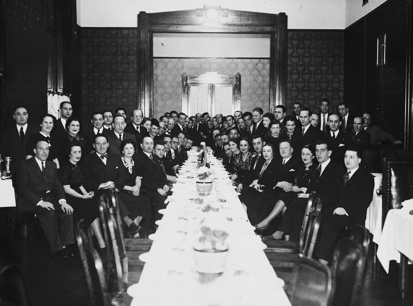 Czech Jews attend a formal banquet celebrating the anniversary of the founding of Hagibor sports club.