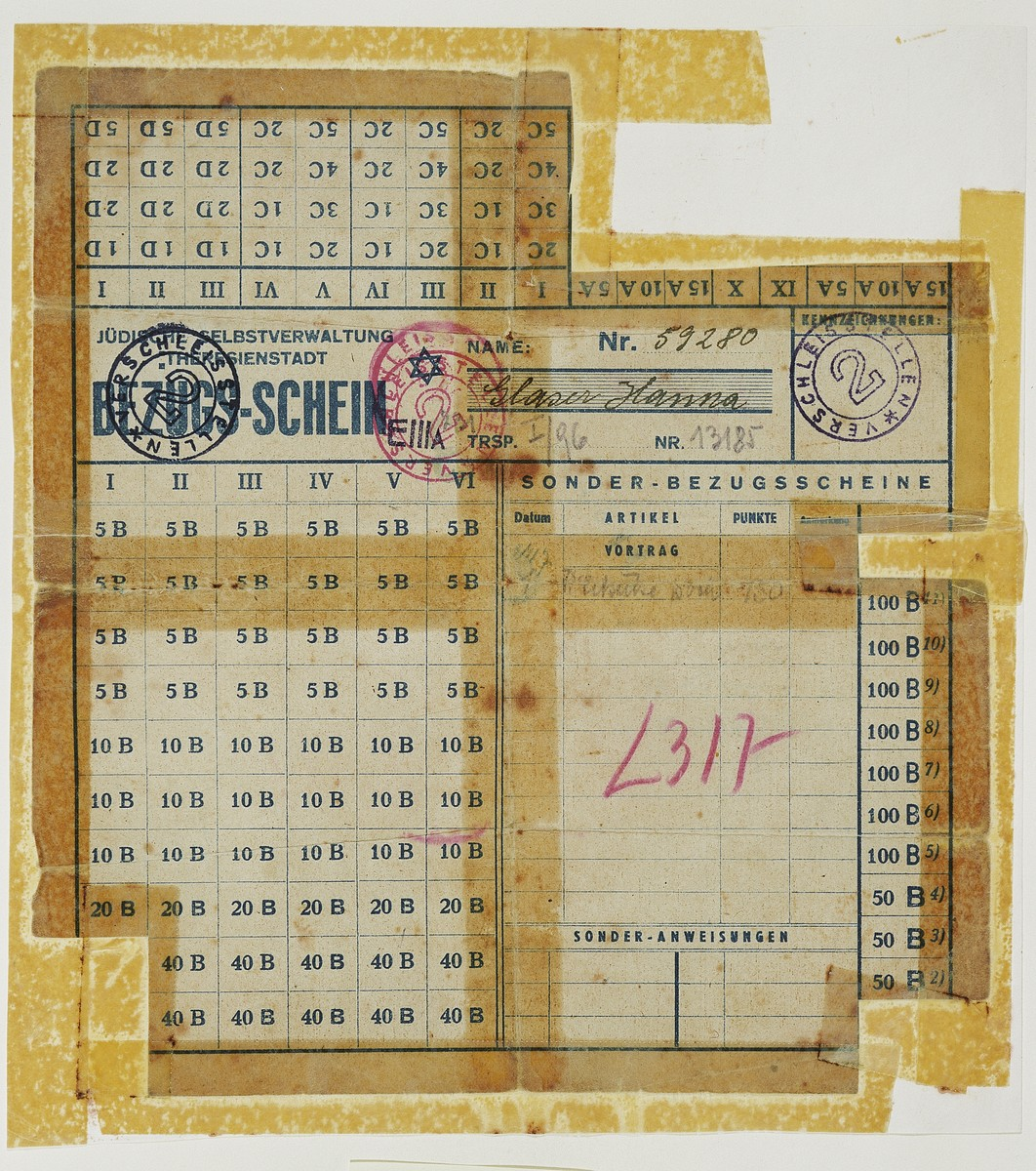 Ration card issued in the Theresienstadt concentration camp.  According to the donor, these cards were given out to mislead the Red Cross into believing that there were commodoties available for purchase.