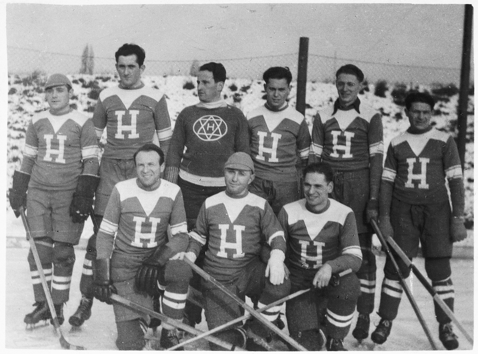 Members of the ice hockey team of the Jewish sport's club, Hagibor.  Ota Margolius is pictured standing on the far left.