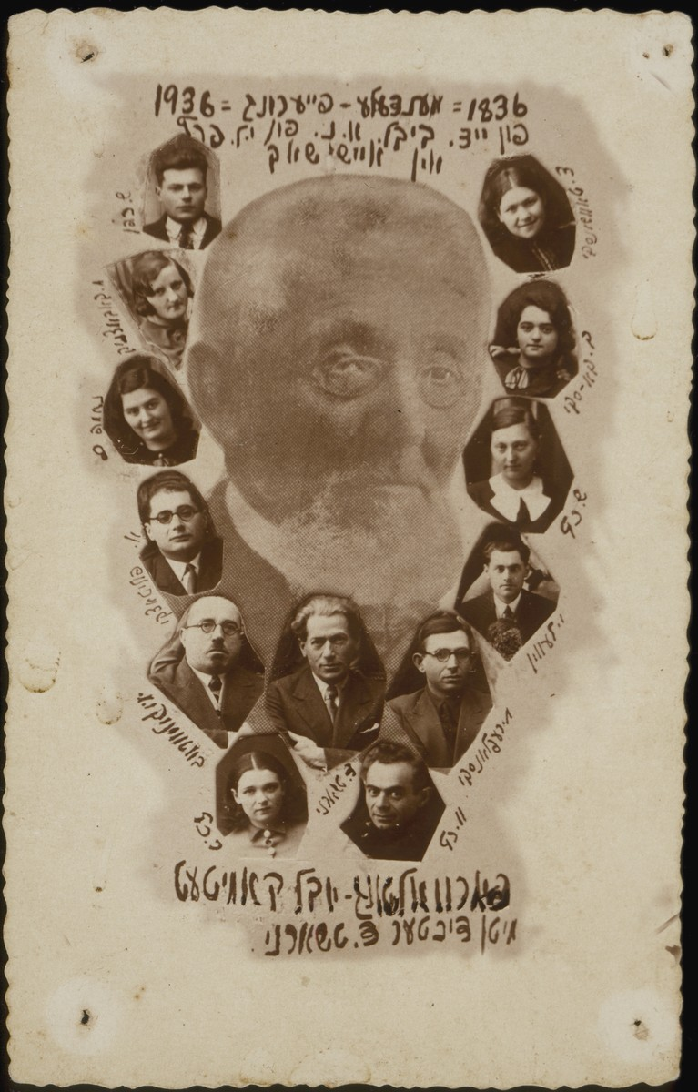 The postcard issued by the Y.L. Peretz library in honor of the centennial celebration of the birth of Yiddish writer Mendele Mokher Sefarim (1836-1936).    Mendele's image is flanked by photos of the library jubilee committee.  Below Mendele's image is the photo of the Yiddish author Daniel Charney, the keynote speaker of the event.