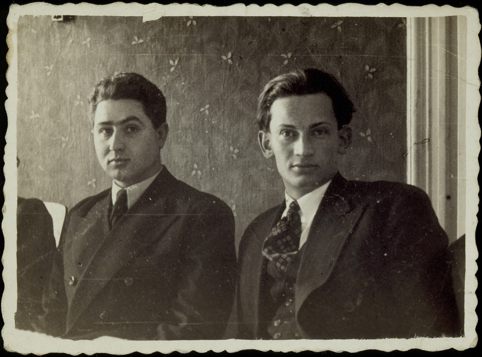 Portrait of Hayyim Shuster (left) with his friend Etchke Jurdyczanski.    Hayyyim, the shtetl's leading Communist and anti-Zionist, ordered the closing of the Hebrew School, banned all Zionist organizations and the speaking of Hebrew during the Soviet occupation of Eisiskes (June 15, 1940 - June 23, 1941).  Hayyim was killed by fellow Soviet Partisans.  Etchke survived the war in the Soviet Union.