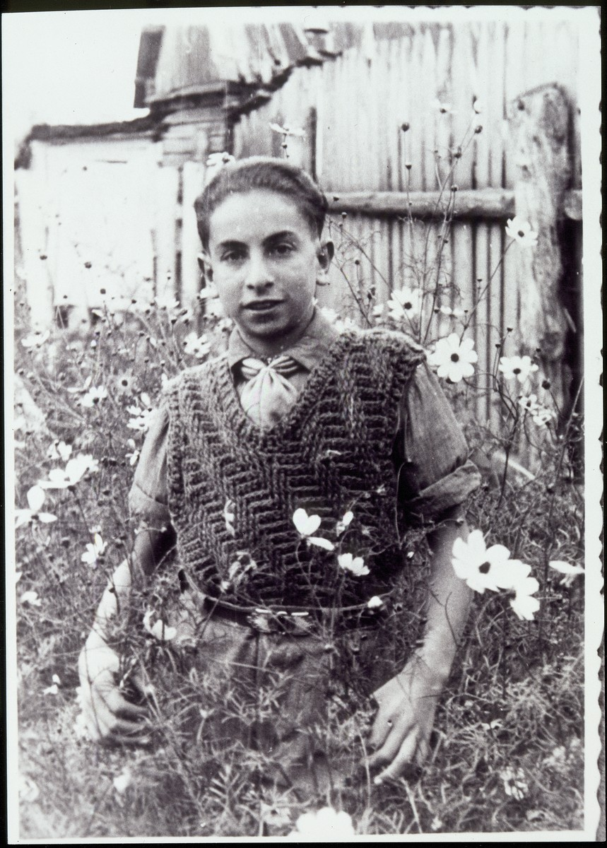 Abraham Shalom Pilipinski, stands in a field of tall flowers.   A cousin of Zlatke Paikowski, Abraham was killed in an air-raid in Sapuzkin on June 21, 1941.