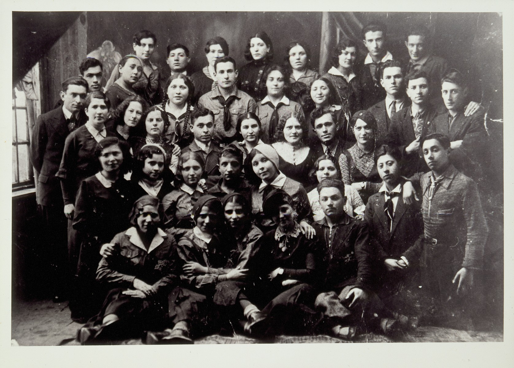 Members of a hachshara in Pinsk.   Gershon Rochowski is in the front row, second from the right. He immigrated to Palestine in May 1934. Flora Kagan is in the third row, third person from the right.