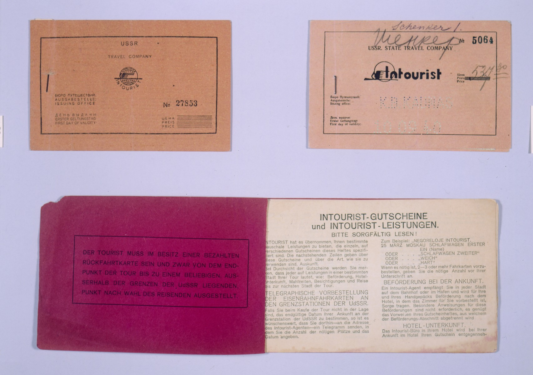 Composite photograph of three intourist tickets for the Trans-Siberian railway to Vladivostok.    1. An intourist ticket for the Trans-Siberian railway to Vladivostok, purchased in the United States for $99.95 by one of Leon Pommer's sisters, dated January 29, 1941(Pommer collection, top left).  2. An intourist ticket for the Trans-Siberian railway to Vladivostok dated October 9, 1940 purchased for $83.16 (Schenker collection, top right).  3. A third class intourist ticket book containing coupons for lunch and dinner (Nowogrodzki collection, bottom).