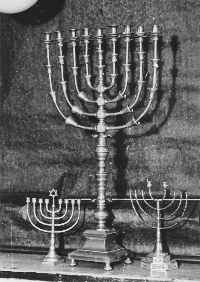 Display of Hanukkah menorahs confiscated by the Nazis.