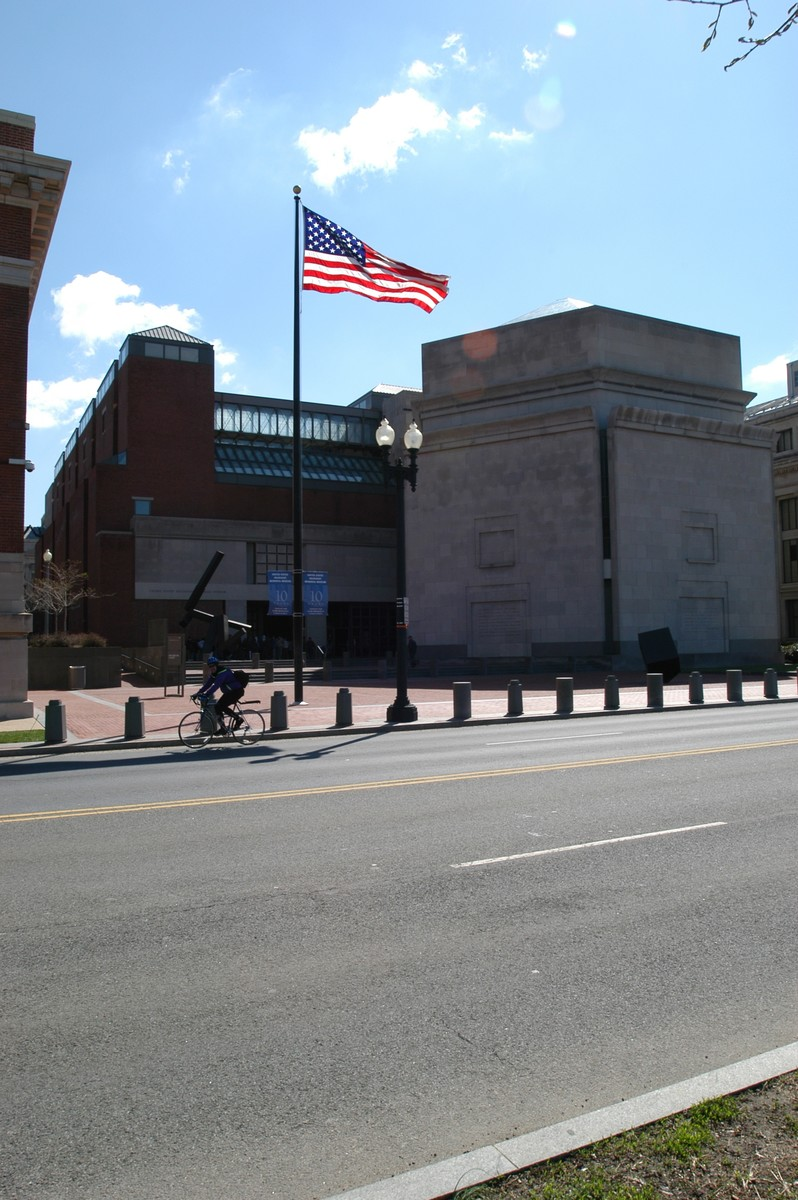 View of Eisenhower Plaza and the 15th Street entrance to the U.S. Holocaust Memorial Museum from across 15th Street.