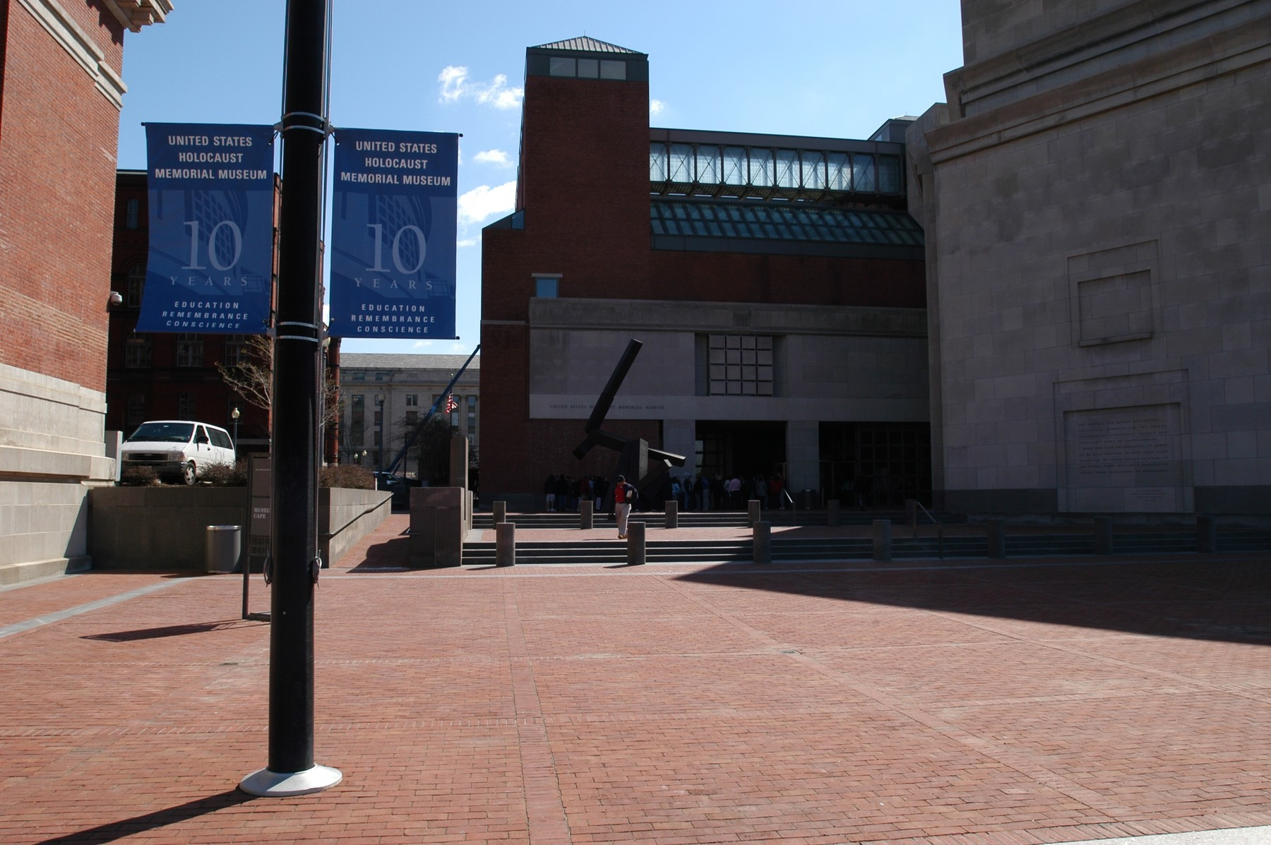 10th Anniversary banners on Eisenhower Plaza, U.S. Holocaust Memorial Museum.