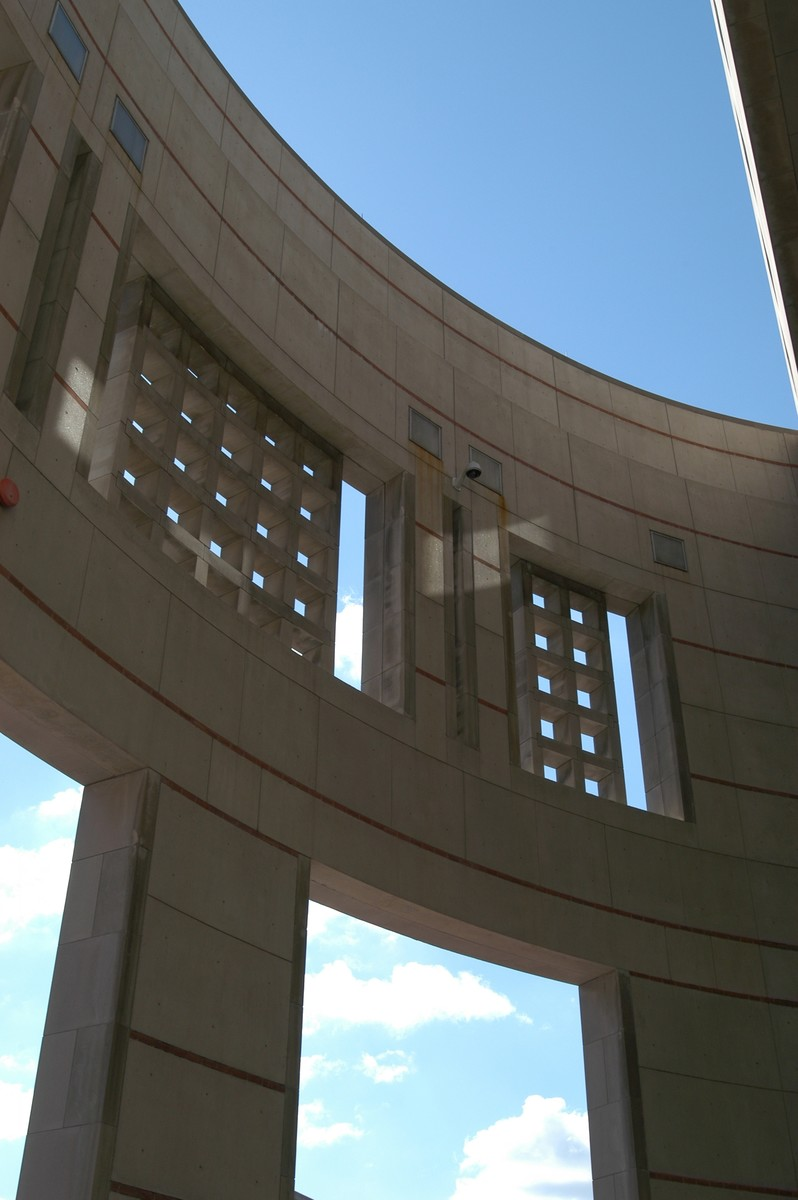 Detail of the 14th Street facade of the U.S. Holocaust Memorial Museum.