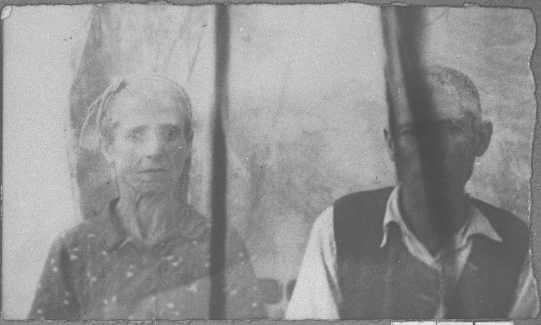 Portrait of Solomon Benjakar, and his wife, Lia.  Solomon was a handworker.  They lived at Putnika 129 in Bitola.