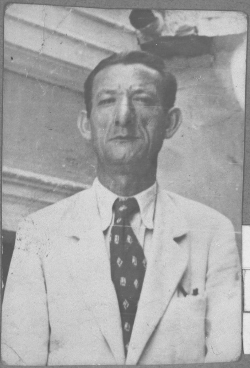 Portrait of Nissim Varsano.  He was a salesman.  He lived at Soluiska 159 in Bitola.