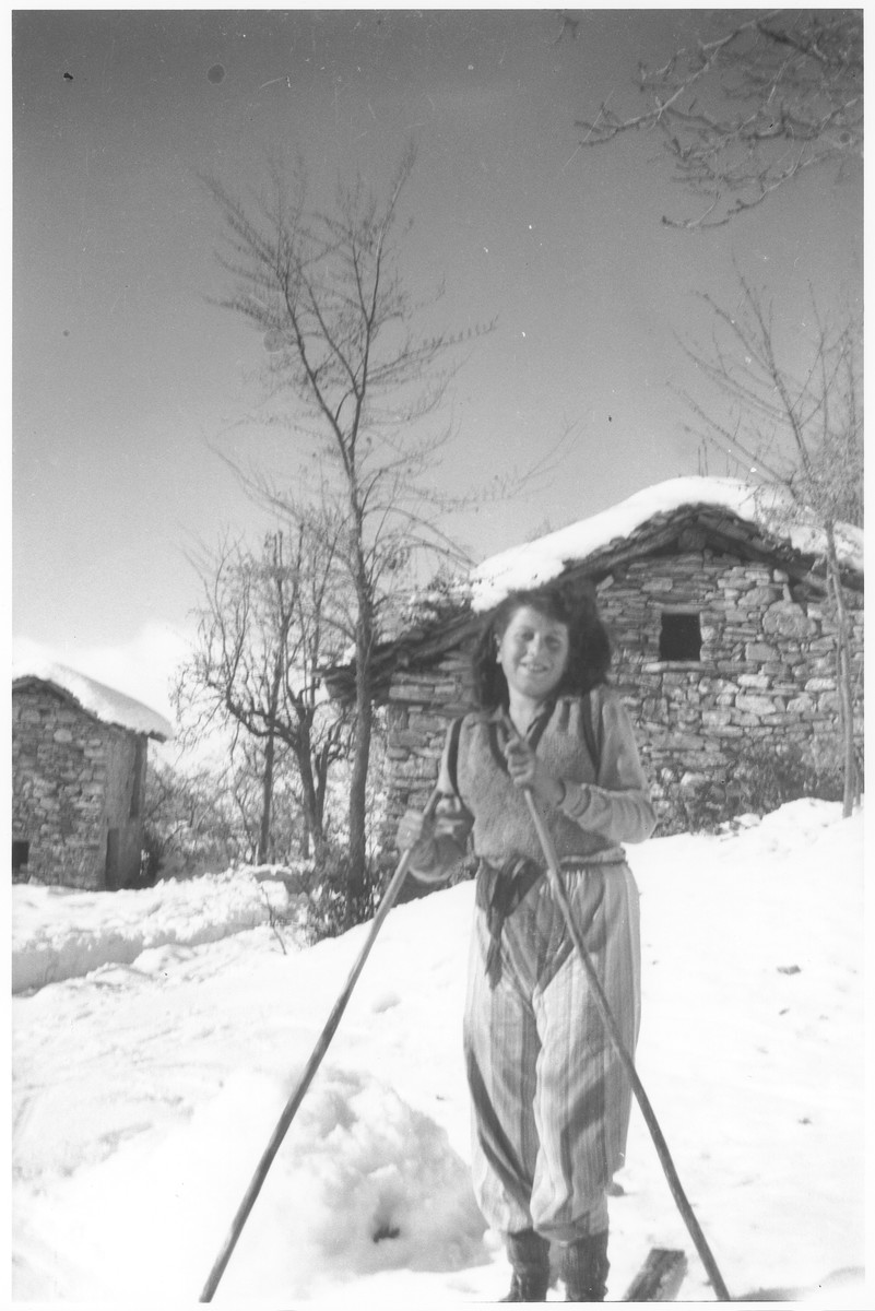 Margid Neuman, a Jewish refugee, skis near Valle Stura, Italy after escaping over the border from France.