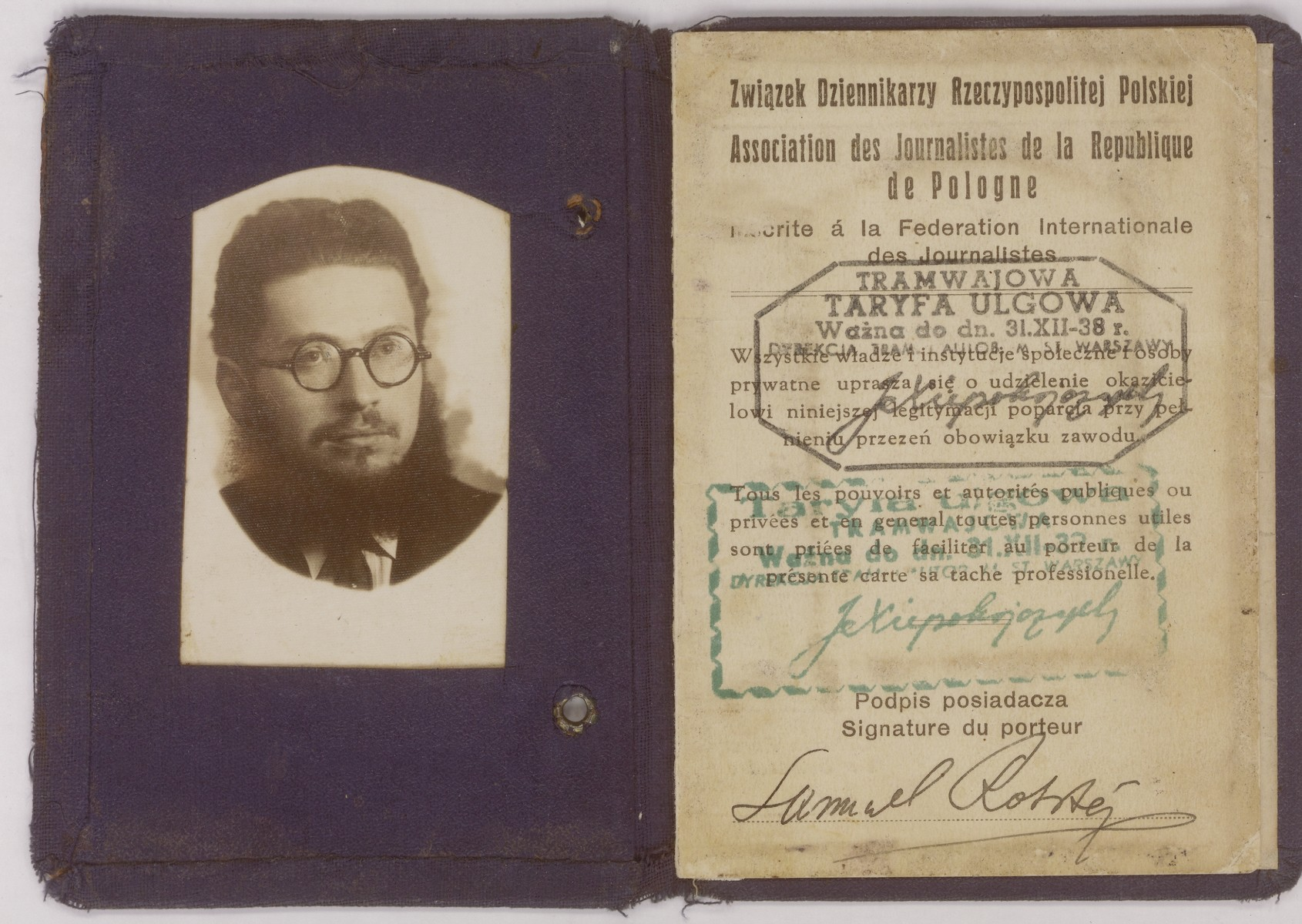 """Membership card issued to Szmuel Icek Rotsztajn, the donor's father, by the Association of Journalists in Poland.    Rotsztajn was an orthodox Jewish publicist, novelist and short story writer, who was co-editor of """"Dos Yiddishe Tagblat"""" and editor of the orthodox literary journal """"Der Flaker""""."""