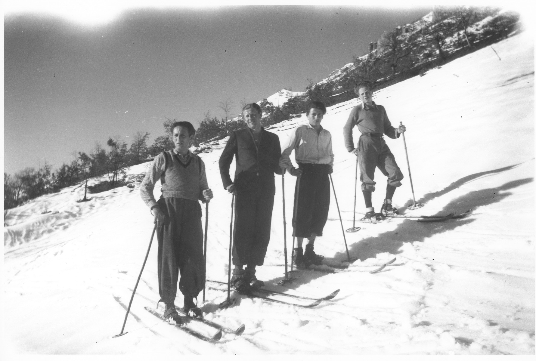 Jewish refugees ski near Valle Stura, Italy after escaping over the border from France.  Those pictured include Karl Tepper, Leopold Neuman, and Carl Roman.