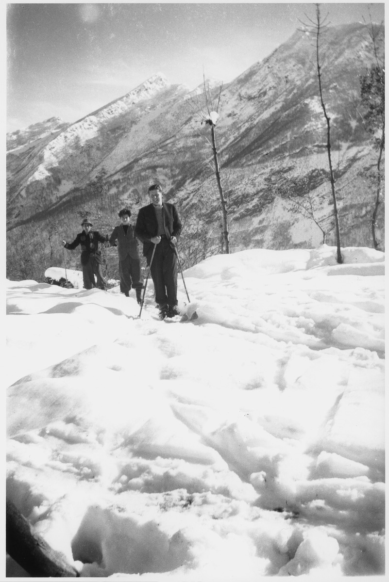 Jewish refugees ski Valle Stura, Italy after escaping over the border from France.  Those pictured include Karl Tepper, Leopold Neuman, and Carl Roman.