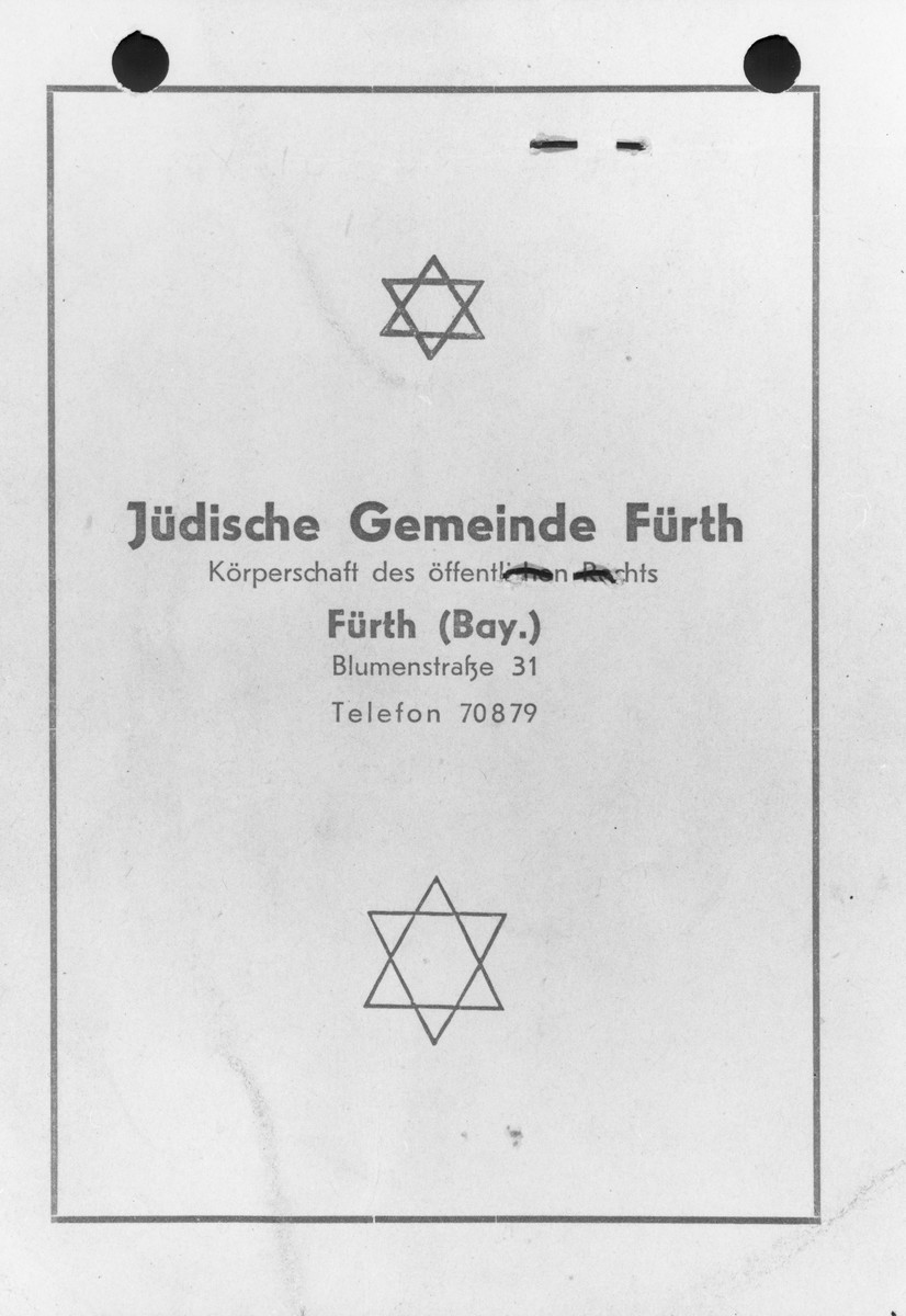 The cover of a membership card in the Jewish Community of Fuerth belonging to Henryk Lanceter.