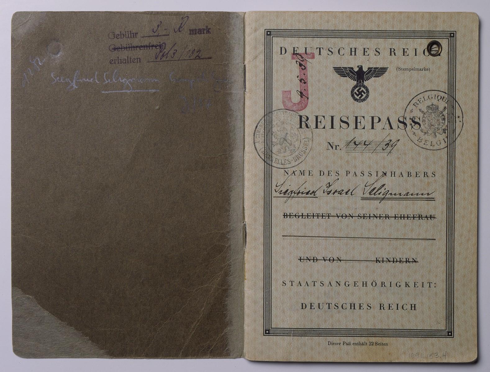 German passport for Siegfried Seligmann.