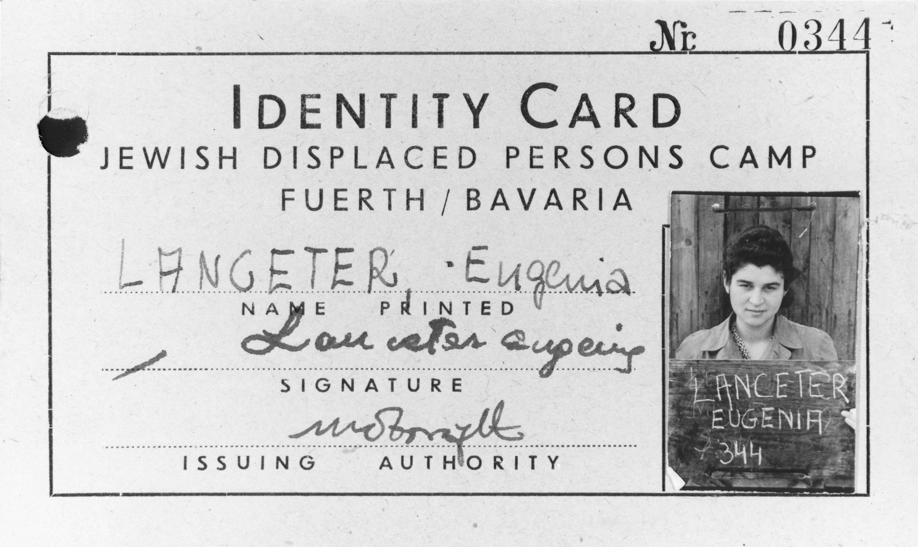 Identity card issued to Eugenia Lanceter, a resident of the Jewish displaced persons camp in Fuerth, Bavaria.