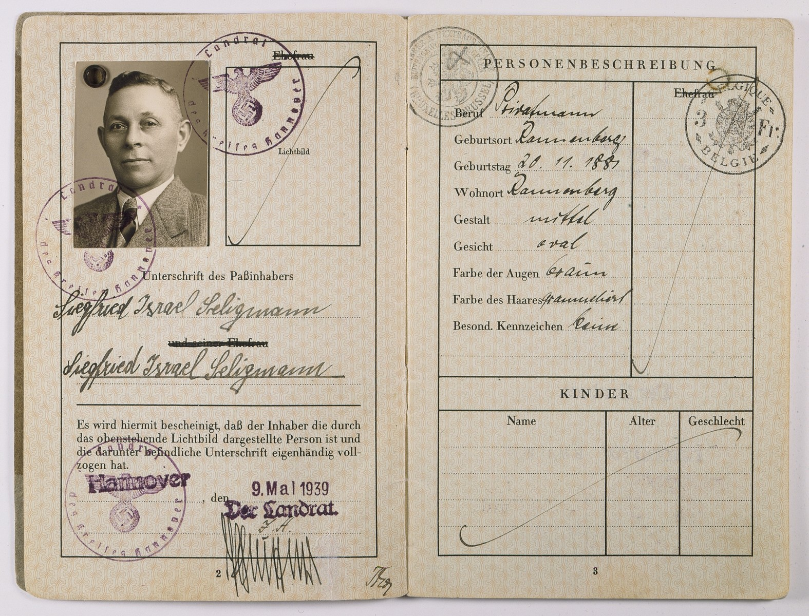 German passport for Siegfried Seligmann.