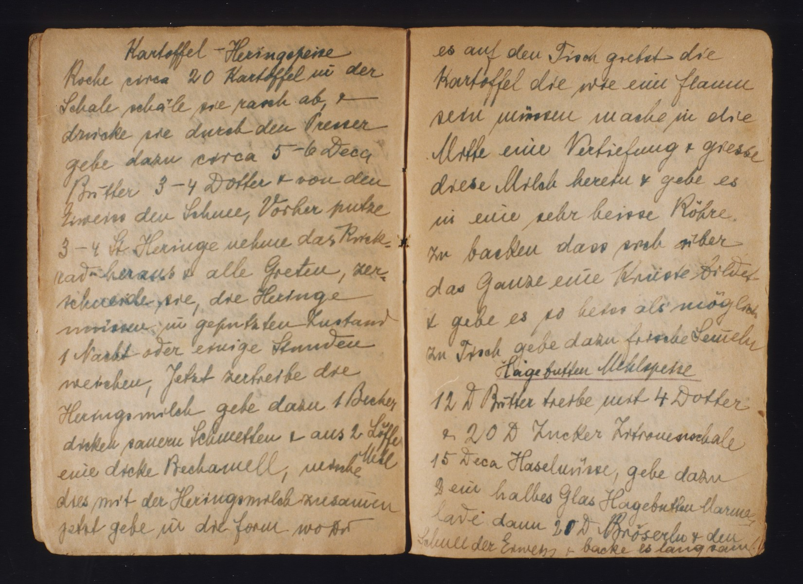 One page of a manuscript cookbook written by female inmates of the Theresienstadt ghetto/concentration camp on which is written a recipe for kartoffel Heringspeise (a potato dish).   The cookbook includes 68 recipes ranging from appetizers to main courses to desserts.