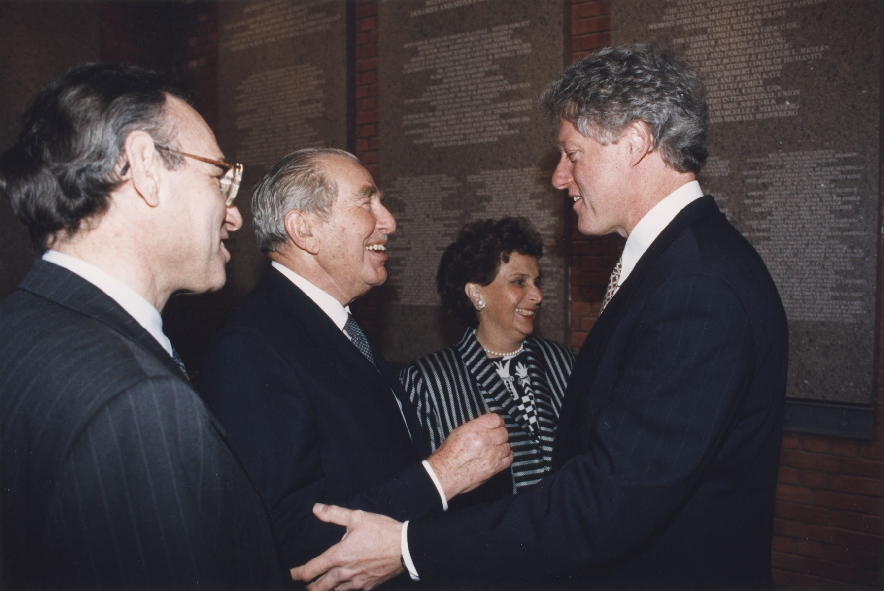 President William Clinton greet Israeli President Chaim Herzog and his wife at the opening of the U.S. Holocaust Memorial Museum.