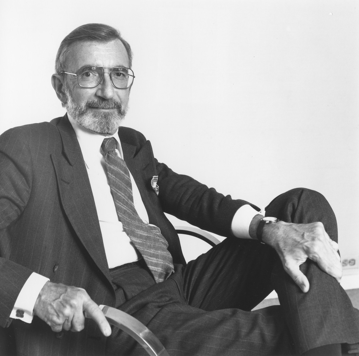 Portrait of James Ingo Freed, architect of the U.S. Holocaust Memorial Museum.  In 1992 Freed, a partner at Pei Cobb Freed & Partners in New York City, received the American Institute of Architects' inaugural Thomas Jefferson Award for Public Architecture.