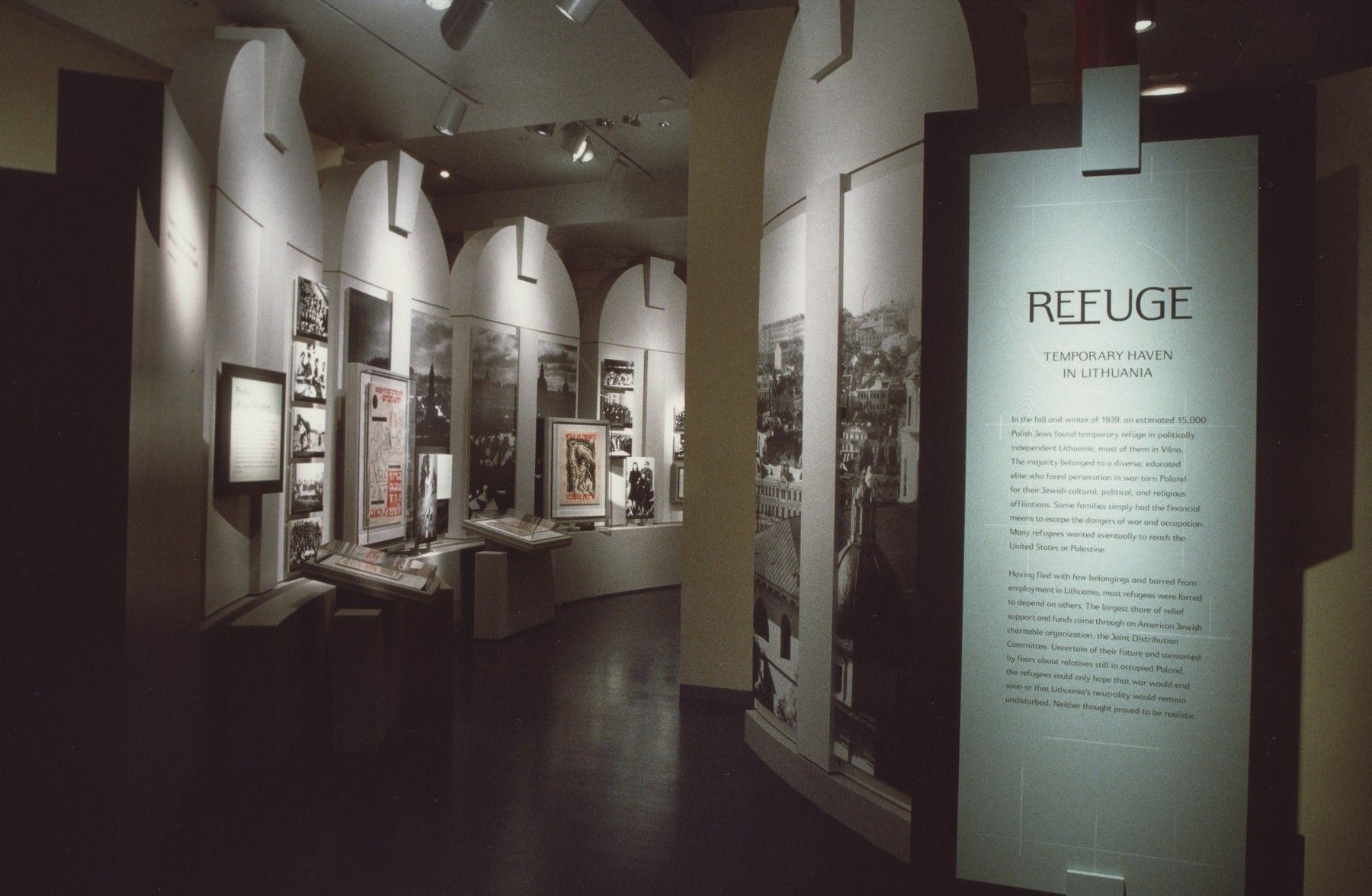 "View of the ""Refuge: Temporary Haven in Lithuania"" segment of the special exhibition ""Flight and Rescue"" in the Kimmel Rowan Gallery of the U.S. Holocaust Memorial Museum.  The ""Flight and Rescue"" exhibition was on display from May 4, 2000 to October 21, 2001."