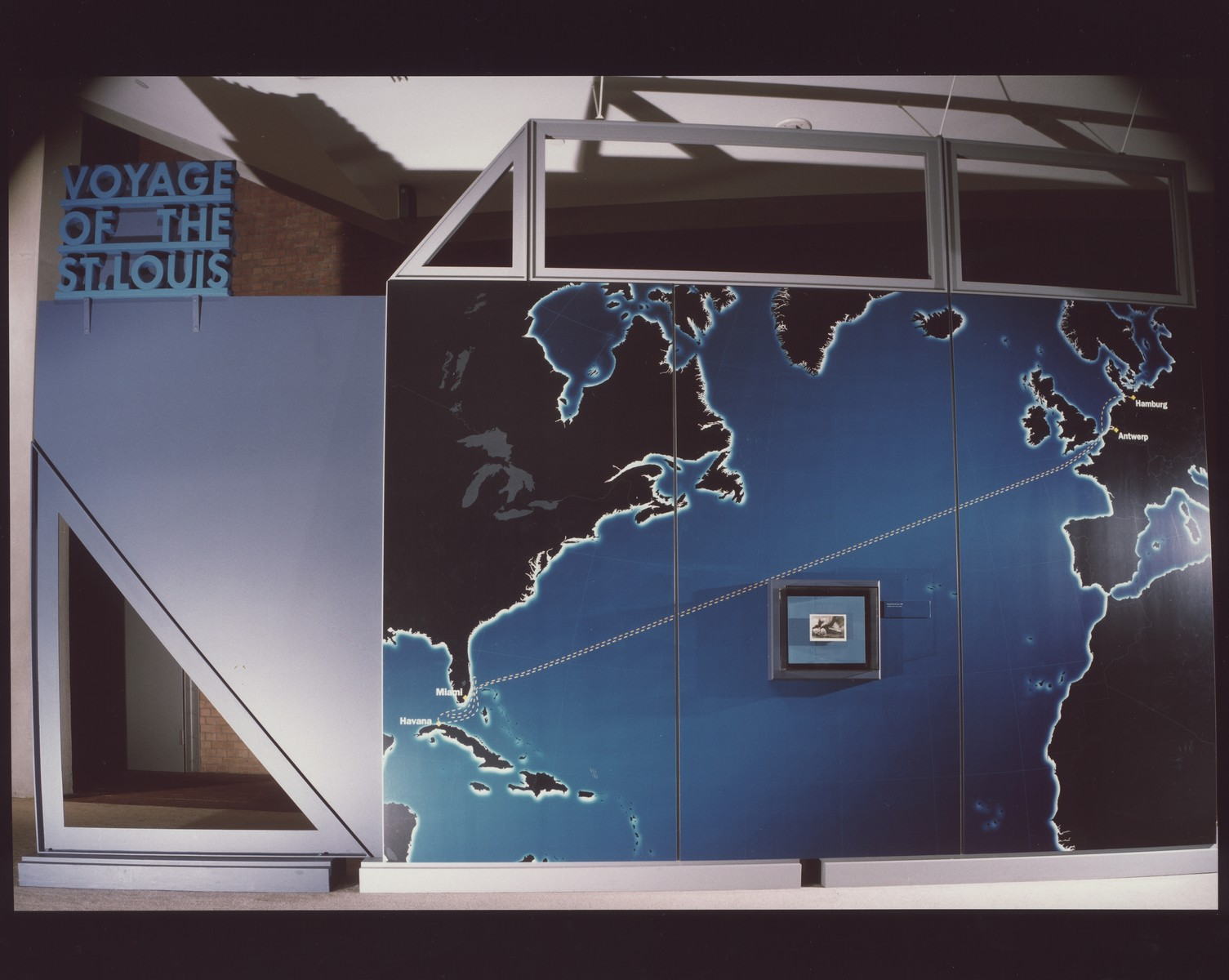 """Map display in the """"Voyage of the St. Louis"""" exhibition at the U.S. Holocaust Memorial Museum.  The """"Voyage of the St. Louis"""" exhibition was on display in the Gonda Education Center from April 11 to September 6, 1999."""
